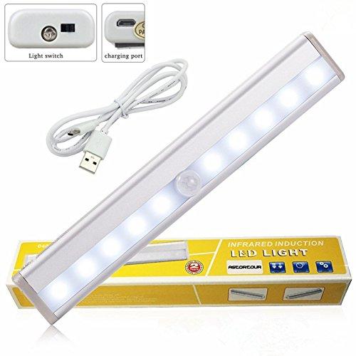 -LED, geree USB wiederaufladbar Wireless PIR Bewegungserkennung Lichtleiste mit der Licht-Wand-Magnetstreifen, weißes Licht ()