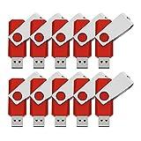 KEXIN 10 Stück USB Stick 2GB USB 2.0 Speicherstick USB Memory Flash Drive (2GB*10PCS, Rot)