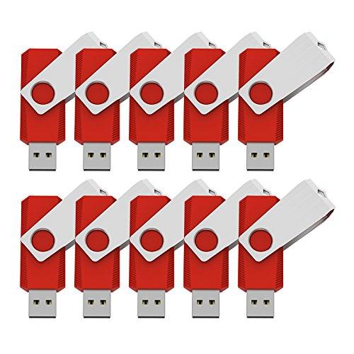 KEXIN 2GB Memoria USB 2.0. Pendrive [10 Unidades ] Color de Rojo