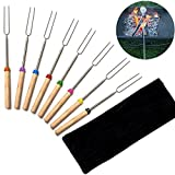 Barbecue Forks Marshmallow Roasting Sticks Telescoping Stainless Steel Extending Roaster 32 inch Set of 8 with a Storage Bag