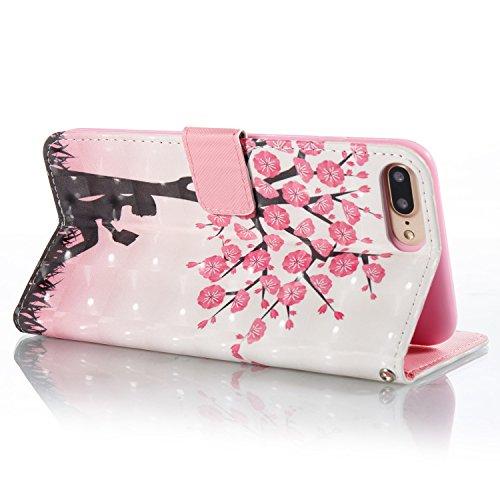 "Für iPhone 7 Plus/iPhone 8 Plus 5.5"" Fall, SKYXD Luxus 3D Muster Flip Magnetic Verschluss PU Leder Brieftasche Cover Case für iPhone 7 Plus/iPhone 8 Plus 5.5"" Shockproof Bookstyle Shell Stoßstange + 1 Peach Blossom"