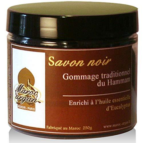 Esfoliante sapone nero eucalipto 100% naturale tradizionale - esfolia e purifica la pelle e raso molle - 250g