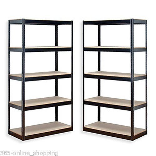 Garden Mile® 2 x Heavy Duty 5 Tier Garage Racking, Boltless Industrial Racking Shelving ,Greenhouse Staging 150cm x 70cm x 30cm Industrial Strength & MDF boards 180Kgs Per shelf,Perfect Home Storage Solution 1.5m Height