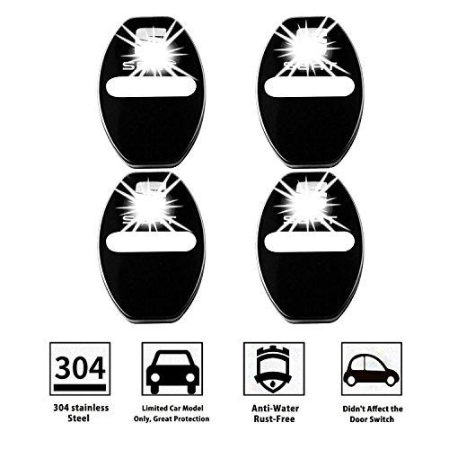 LFOTPP Seat001 Edelstahl Auto Türschlossabdeckung Innenraum Schutz Zubehör Türverriegelung Abdeckung Schawrz
