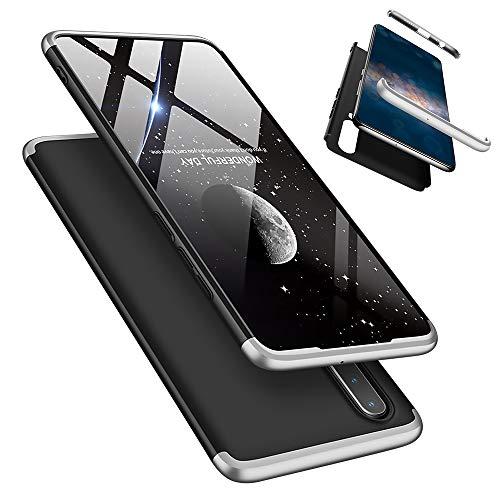 Laixin 3 in 1 Handyhülle für Huawei P30 Lite/Nova 4e Hülle + Panzerglas, Ultra Dünn PC Plastik Anti-Kratzen Schutzhülle Schutz Case Cover mit Bildschirmschutzfolie, Silber/Schwarz