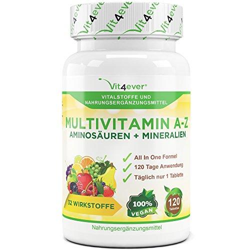 Multivitamin A-Z - 120 Tabletten - 32 Vitamine, Mineralien, Aminosäuren, Spurenelementen +Antioxidantien, 120 Tage Versorgung - Täglich nur 1 Tablette - Mulitvitamine - Vitamin C, Eisen, Vitamin E, Zink, Vitamin B3, Niacin, Magnesium, Vitamin B5, Vitamin D3, OPC, Traubenkernextrakt, Kurkuma, Glutamin, Vitamin B6, Alpha-Liponsäure, Vitamin B1, Vitamin B2, Vitamin B3, Vitamin D3, Vitamin A, Folsäure, Kupfer, Vitamin B12, Selen, Biotin … Vit4ever