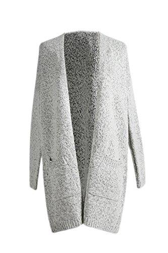 La Taille Des Femmes Ouvert Poche Plus Occasionnels Knit Cardigan Haut De La Page Grey