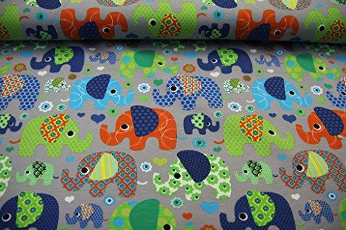 Stoff / 50cmx140cm / Kinder / beste Jersey-Qualität / Jersey Elefanten bunt auf grau