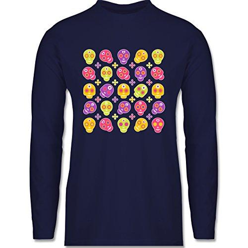 Shirtracer Rockabilly - Candy Skull - Herren Langarmshirt Navy Blau
