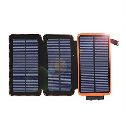 Caricabatterie solare 24000mah impermeabile banca di alimentazione surenhap con 3 pannelli solari pieghevoli batteria portatile pack 2 usb per iphonex, 8 / 7plus, ipad, samsung, tutti gli smartphone, campeggio esterno viaggiare