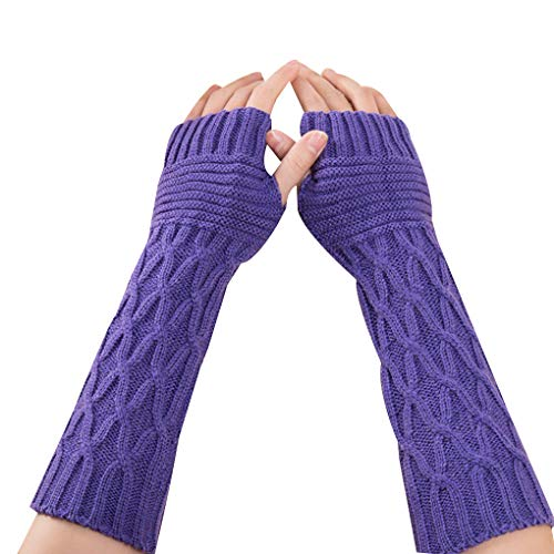 Kakiyi 1 Paar Falzmuster Frauen Mädchen Knit-Arm-Wärmer Handschuhe Winter Herbst Streifen Arm Handgelenk Sleeve Fäustlinge - Arm Wärmer Handschuhe