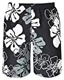 mareno® - Herren Badeshort mit modernem Blumenmuster in schwarz, Größe 5XL