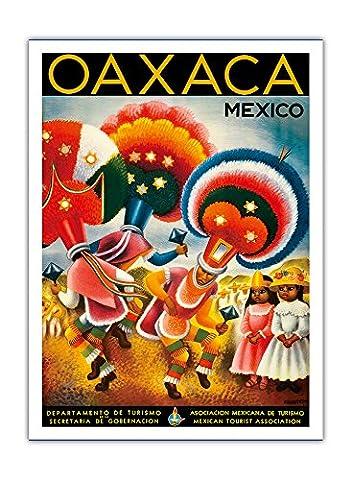 Oaxaca, Mexique - Danseurs Autochtones Costumés - Affiche vintage de voyage du monde Vintage World Travel Poster by Miguel Covarrubias c.1943 - Prime 290gsm Giclée Imprime - 30.5cm x