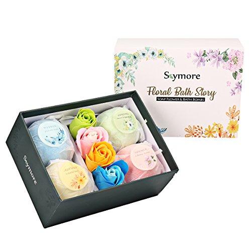 Skymore Bombes de Bain Gift Set pour la Saint-Valentin, 4 Boules de Bain avec 4 Fleurs de Savon Parfumé, 4 Senteurs/Couleurs, Se Baigner de Joie