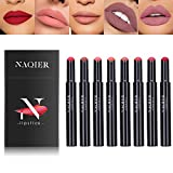 Ensemble de rouge à lèvres mat, Stick à lèvres hydratant nude 8PCS, Rouge à lèvres imperméable à l'eau mat, effet velours