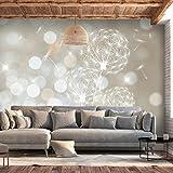decomonkey | Fototapete Pusteblume 300x210 cm XL | Tapete | Wandbild | Riesen Wandbild | Bild | Fototapeten | Tapeten | Wandtapete | Wanddeko | Wandtapete Licht bokeh Blumen Pflanzen creme beige | FOC0017a62XL