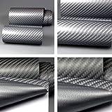 Autofolie 4D Carbon Grau Metallic 152cm breit BLASENFREI mit Luftkanäle 3D Flex Folie Auto