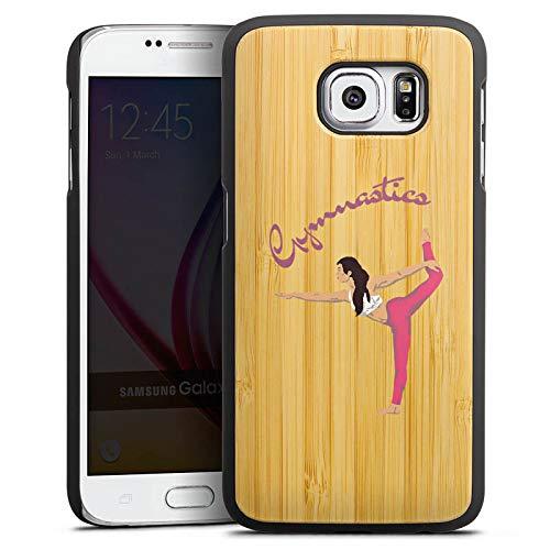 DeinDesign Holz Hülle kompatibel mit Samsung Galaxy S6 Wooden Case Echtholz Handyhülle Gymnastic ohne Hintergrund Hobby