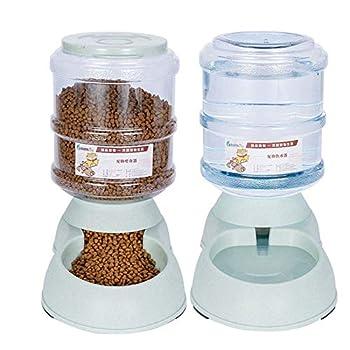 Geggur Distributeur De Nourriture Eau Fontaine Automatique 3.75L, Alimentation pour Pet Chain Chat Croquettes Accesoires Gamelle Animaux Domestiques - 2 Pièces