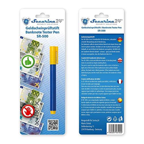 Prüfstift Geldschein Tester Geldscheinprüfstift Geldprüfstift SR-500 Prüfer Geldprüfer Geldscheinprüfer (blau mit gelben Kappen 5 Stück)