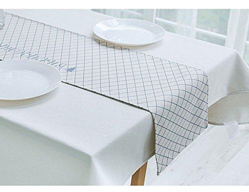 QiangZi Chemin De Table Grille Style Nordique Simple Coton Et Lin Décoration Plage Plates-Nappes Nappes, 32 * 190CM ( Couleur : Grid , taille : 32*190CM )