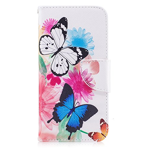Coque iPhone X, Voguecase Coque de Protection en PU Cuir Support Flip Housse Étui Cover Case avec Porte-Cartes pour Apple iPhone X (2017) (Un grand arbre coloré) + Gratuit Stylet à Aléatoire Aquarelle papillon 01