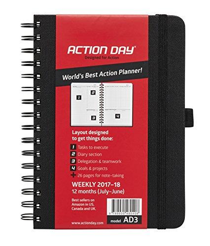 Action Day Agenda scolaire World's Best Action Planning pour année 2017-2018-mise en page Action pour rappel des tâches-calendrier journalier / hebdomadaire / mensuel / annuel (reliure avec fil de fer) 6x8 Inch - Black noir