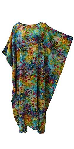 Glow Vibrant Tie Dyed Leaf Kaftan Caftan Cool Soft Long Ladies Dress Plus Hand Printed (S/M Fits UK 8 to 18) (Womens Printed Kaftan)