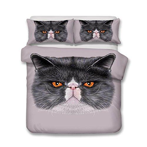BEIZI 3D Tier Katze bettwäsche Set Schlafzimmer Single Bett größe Schmetterling Druck bettbezug Sets 3 teilige 1 bettbezug,2 Kissenbezüge, G