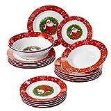Veweet, serie Santaclaus, servizio da tavola in porcellana, set di stoviglie, per Natale, con piatto da dessert, piatti fondi, piatti e insalatiera