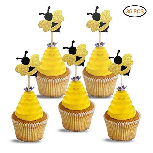 Kylewo 36 Stücke Biene Cupcake Topper, Themed Tier Kuchendeckel Topper für Kinder Baby Party Geburtstag Party Kuchen Dekoration