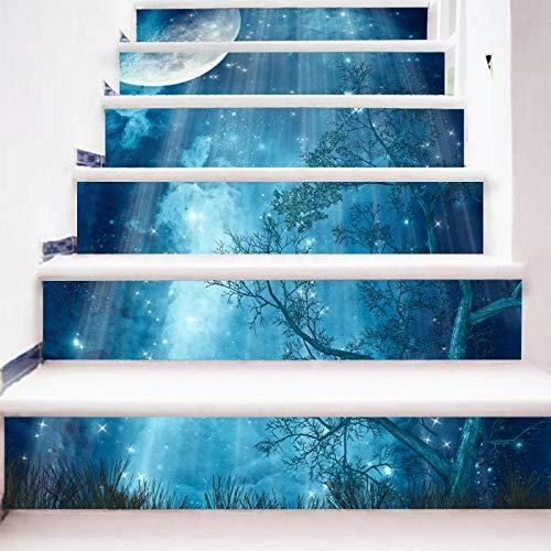 Hochwertiges einfaches kreatives 3D Treppenaufkleber Waldmondlicht DIY renovierte Treppenaufkleber selbstklebendes Papier wasserdicht - Renovierte Leben