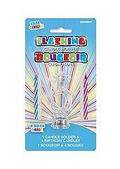 Idea Regalo - Unique Party 37535 Candela di Compleanno Numero 5 Cambia Colore Lampeggiante, Portacandela con 4 Candele