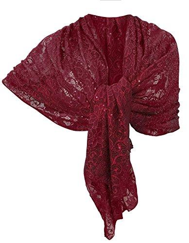 Sciarpa scialle brillante foulard in pizzo con paillettes,da donna ragazza coprispalle stola cerimonia in 5 colori tinta unita (rosso)