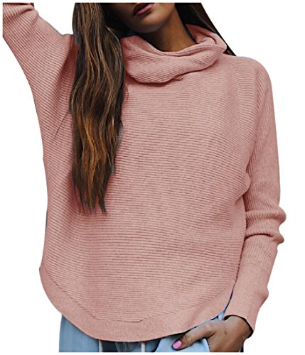 Tootlessly Women's Loose Fit Turtleneck Solid-Colored Pullovers Sweater