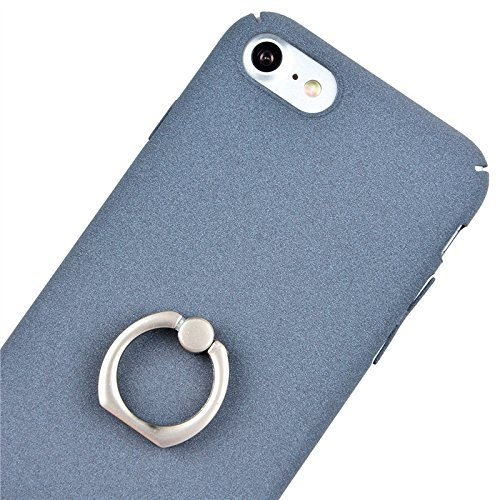 iPhone 7 Hülle, Yokata PC Hart Case Gefrostet Plastik mit Ring Fingerhalterung Kickstand Holder Support Schale Dünn Case Schutzhülle Protective Cover + 1 x Kapazitive Feder Grau