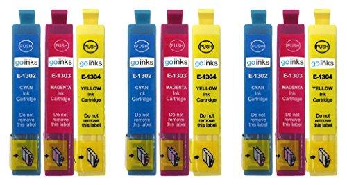 Go Inks E-1306CMY Cartouches d'encre C/M/Y Compatible pour remplacer Epson T1302, T1303, T1304 pour une utilisation avec les imprimantes Epson Stylus (Lot de 9)