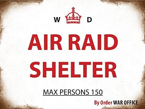 LARGE WAR OFFICE AIR RAID SHELTER METAL ADVERTISING WALL SIGN by S2A