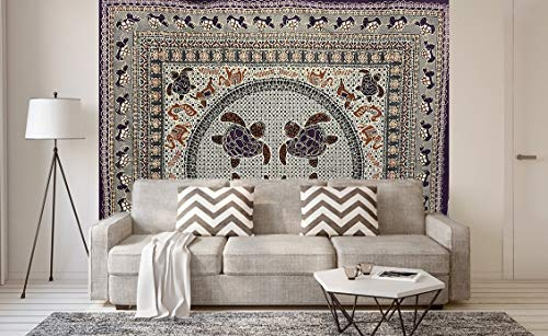 Etnico telo indiano ricamato arredo arazzo matrimoniale quattro tartarughe misure 220 x230 circa da spiaggia in cotone da muro