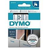 Dymo S0720510 D1-Etiketten (Selbstklebend, für den Drucker LabelManager, 12 mm x 7 m Rolle) blau auf transparent