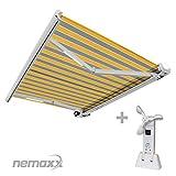 Nemaxx FCA45X Vollkassettenmarkise mit Licht- und Windsensor 4,5m x 3m gelb-grau : Kassettenmarkise für optimale Beschattung aus UV-beständigem und wetterfestem Acryltuch in weißer Kassette - nach DIN EN 13561