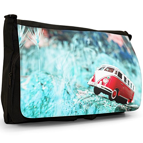 Camper Van Scene–Borsa Tracolla Tela Nera Grande Scuola/Borsa Per Laptop Red Camper Van Scene