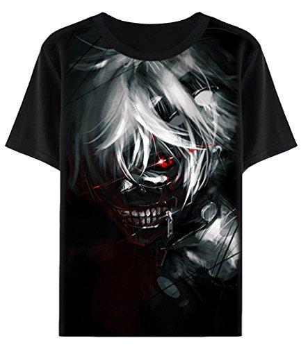 Brinny Klassische Anime 3D T-Shirt Herren Jungen Cartoon Printing Kurzarm Design Tops Hemd Kostüm Cosplay Halloween