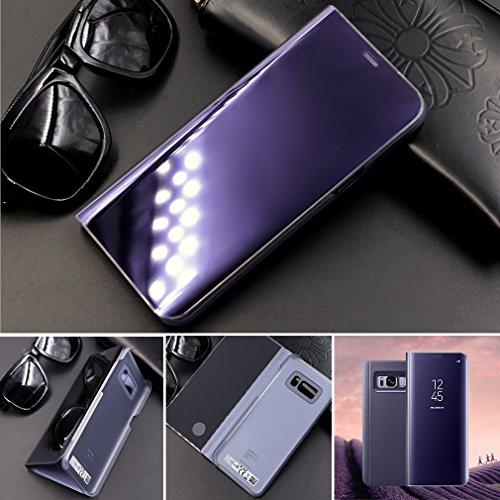 Aursen-Case-de-Telfono-para-Samsung-Galaxy-S8-Plus-Flip-Cover-Carcasa-Soporte-Plegable-Cierre-Magntico-Color-Prpura