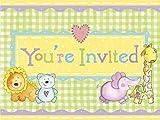 8Stück Giraffe Baby Dusche/Taufe/Geburtstag Party Einladungskarten mit Umschlägen