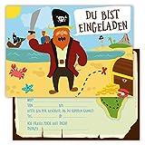 12 Lustige Einladungskarten Set Kindergeburtstag Party Pirat Schatzinsel Jungen Mädchen Kinder Schatzsuche Geburtstagseinladungen Karten witzig
