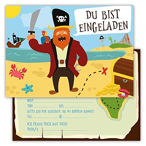 12 Lustige Einladungskarten Set Kindergeburtstag Party Pirat Schatzinsel Jungen Mädchen Kinder Schatzsuche Geburtstagseinladungen Karten (Outfits Piraten Jungen Für)