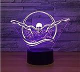 2 Pack, Novità 3D Luce notturna per il nuoto Usb Colorful Visual Led Lampada da tavolo Touch Button Sleep Light Regali Camera da letto