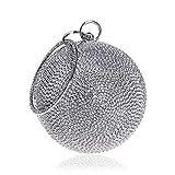 ALLHM Womens Ball Shape Diamante Abend Clutch Bag für Braut Hochzeit Handtasche Elegant (Farbe : Silber, größe : Oneszie)