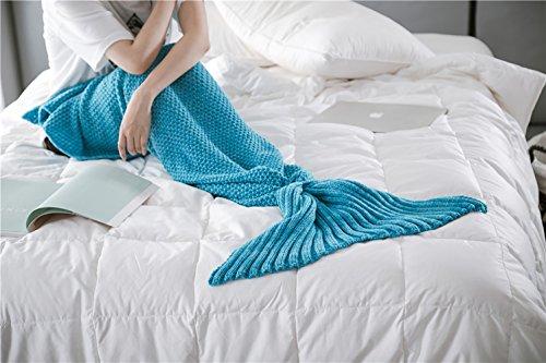 Meerjungfrau Endstück Häkeln Decke Teens Jugendliche Erwachsene Wohnzimmer Sofa super weiche Decken Schlafsack-Eisblau (Weiche Decken Für Teens)